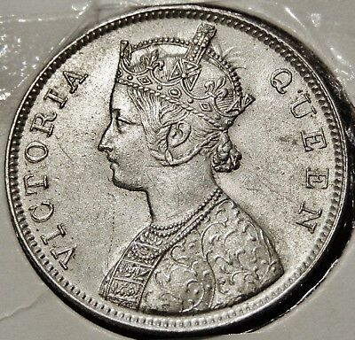 India - British 1862 Silver (.9170) One Rupee Coin - Young Head Queen Victoria