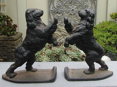 Stunning Vintage Pair Cast Iron Spaniel Dog Bookends