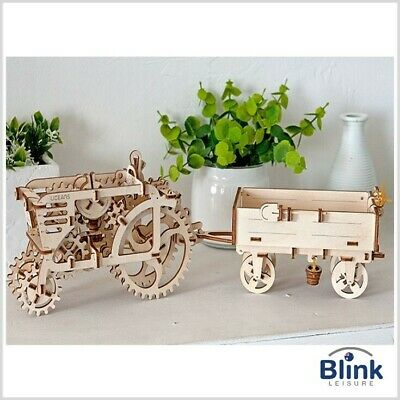 "UGEARS - Mechanical Wooden Interactive Model Functional ""Tractor & Trailer"" Set"