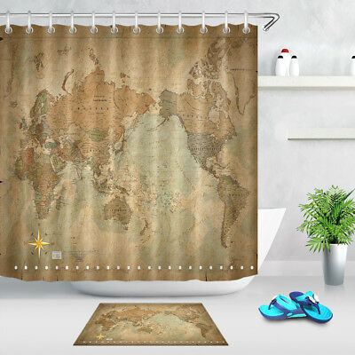 SHOWER CURTAIN WORLD Map Pattern Bathroom Waterproof Fabric ...