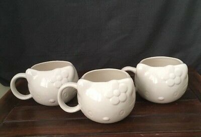 Hello Kitty Coffee Mugs X 3 Sanrio Ceramic Collectables Very Good Condition