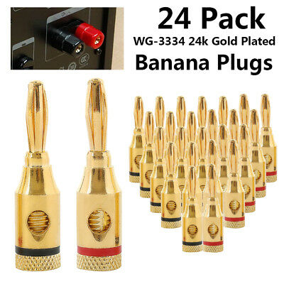 24Pcs Gold 24K Banana Plugs Audio Jack Speaker Wire Cable Screw Connector CA