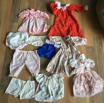 Vintage Hand Made Doll Clothes Dress & Undies Lot For 21 To 28 Inch Dolls
