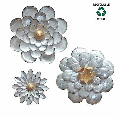 GALVANIZED FLOWERS WALL Décor Set of 3 Metal Flower Wall Art-by ...