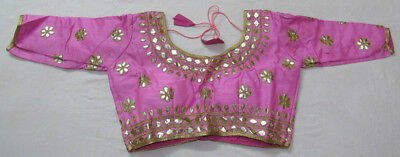 PINK 34 Sleeves Designer Indian Raw Silk Gotta Patti readymade choli top blouse