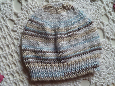 Cute hand-knitted baby boy beanie to fit 0 - 4 months, super soft acrylic