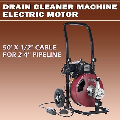 Electric Drain Cleaning Machine 50FT 1/2'' Sewer Snake Drill Drain Auger Cleaner