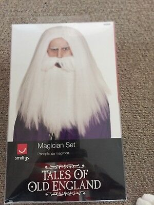 wizard magician white wig and beard magic
