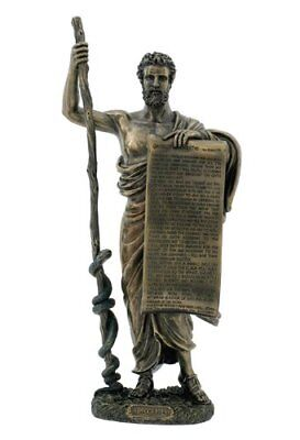 Ancient Greek Figure Hippocrates of Cos with Hippocratic Oath Cold Cast Bronze