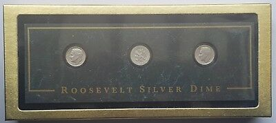 Three United States Of America Roosevelt Silver Dime With Presentation Box