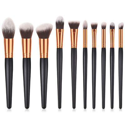 10pcs Pro Cosmetic Kit Powder Foundation Eyeshadow Beauty Makeup Brushes Set