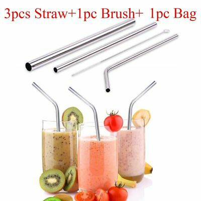 Reusable Stainless Steel Metal Straight/ Bend Drinking Straw Cleaner Brush Sack