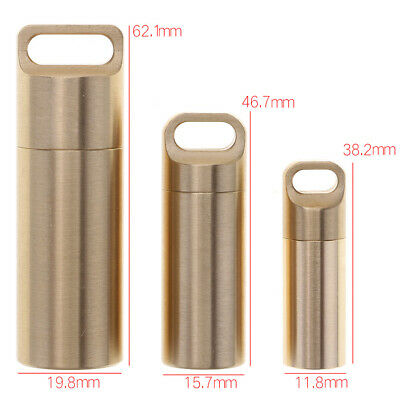 Pill Box Case Holder Brass Waterproof Medicine Capsule Container Keychain