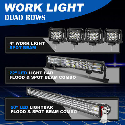 LED Light Bar 50'' +22in Flood Spot Combo + 4x 4inch Offroad 4WD UTE Driving SUV