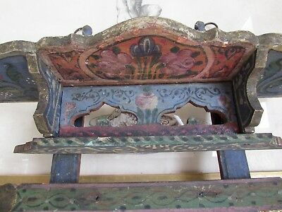 Superb antique French hand painted very old wooden shelf.  C1880