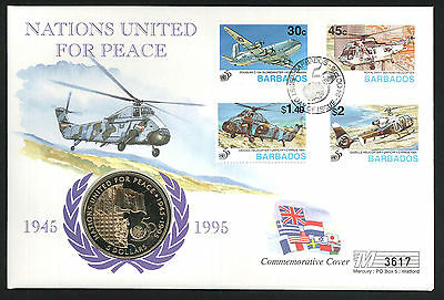1995 Nations United For Peace - Coin CC - $5 Coin & Barbados Pmk