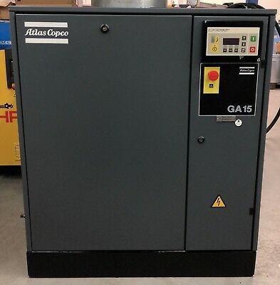 Atlas Copco GA15 Rotary Screw Compressor, 15Kw, 13Bar, 62.5CFM, Great Order!