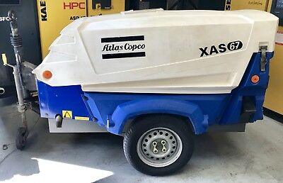 Atlas Copco XAS67KD Diesel Portable Rotary Screw Compressor, 130Cfm, Low Hours!
