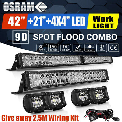 42inch Curved LED Light Bar Combo + 22in Spot Flood + 4'' Pods Offroad Driving