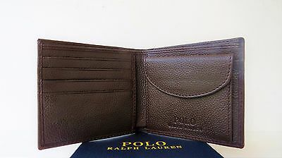 RALPH LAUREN POLO BROWN PEBBLE LEATHER WALLET with COIN POCKET