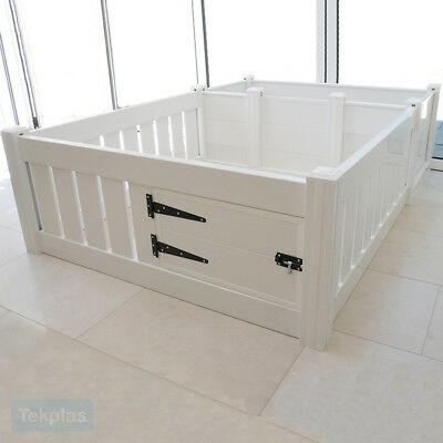 Plastic Puppy Playpen Whelping Box White Heavy Duty Dog Welping Encloure