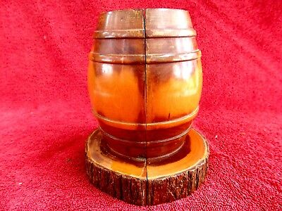 VINTAGE  MULGA  WOOD  'BARREL' BOOK ENDS  14cm.