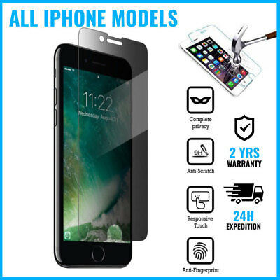 Privacy Screen Protector 9H Tempered Glass iPhone 5 5S 5C SE 6 6S 7 8 X XS Plus