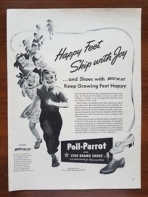 1940s Poll-Parrot Star Shoes Children Happy Feet Vintage Print Ad Decor Large