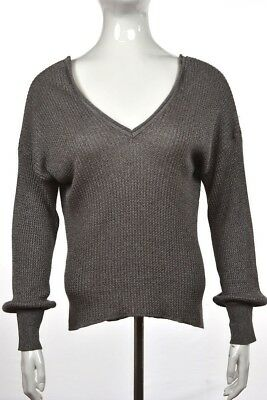 8eadf3dab8fb42 Zara Knit Womens Sweater Size S Gray Metallic V Neck Speckled Long Sleeve  Top