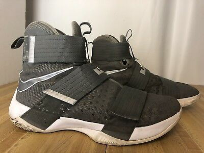 wholesale dealer b240e 371b8 NIKE LEBRON SOLDIER 10 (844374-002) Cool Grey White Size 12 Basketball