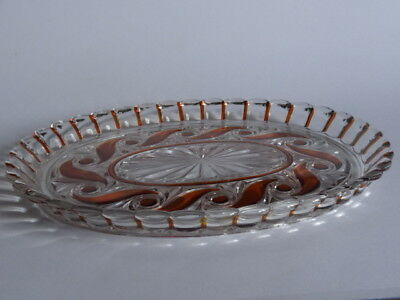 Vintage Tray Crystal Baccarat Pattern Moulure Russe Amber Color 19 Th Century