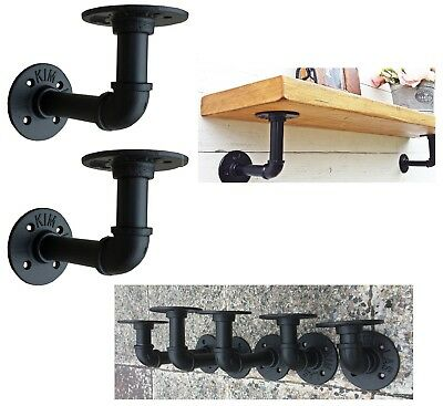 Set 2 Shelf Brackets Industrial Style Antique Pipe Black Iron Wall Mount Hanging