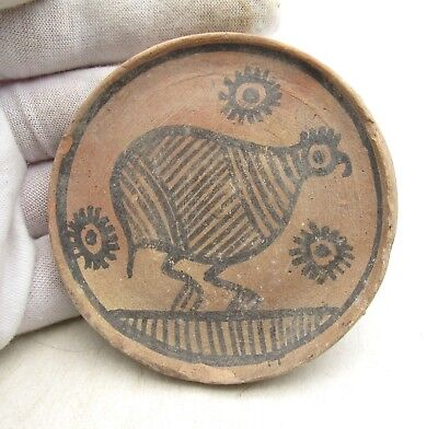 Indus Valley Terracotta Plate W/ Bird - Ancient Rare Artifact Lovely - L546