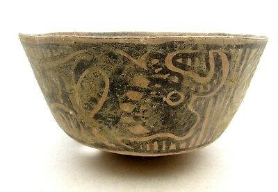 Indus Valley Terracotta Bowl W/ Lion/ Bull Motif - Rare Artifact Lovely - L427
