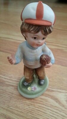 Lefton Boy with Football  Figurine Pottery Japan KW 20121L