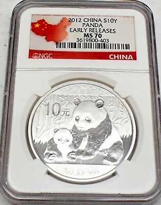2012 Panda Early Releases Red Label Silver 10 Yuan Coin China Graded Ms70 Ngc