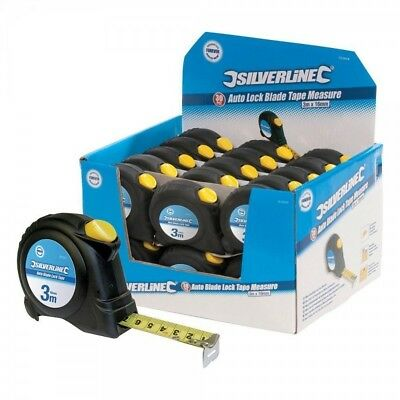 Silverline Display Box of Auto Blade Lock Tape Measures 5m x 19mm x 30 Pieces