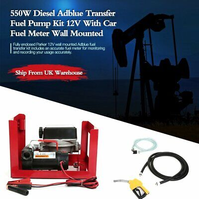 550W Diesel Adblue Transfer Fuel Pump Kit 12V With Car Fuel Meter Wall Mounted M
