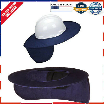 Hard Hat Sun Shade Stow Away Super Cotton Brim Protects Face Neck Skin Navy Blue