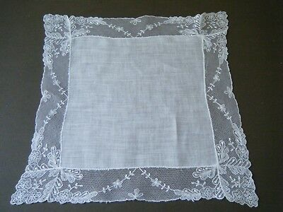 Old Antique Handkerchief Hanky Bridal  net embroidered  lace Hand  done