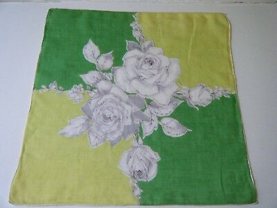 Old Antique Handkerchief Hanky w beautiful colors rosses print rolled hand hem