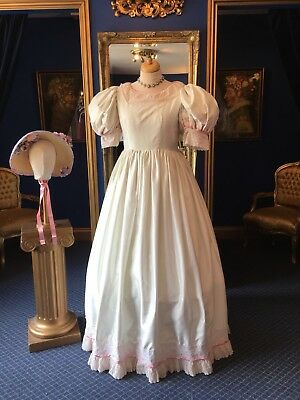 Stunning Theatrical Victorian Style Day Dress & Matching Bonnet, Beautiful Item!