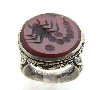 Post Medieval Silver Ring With Carved Intaglio Carnelian Stone Scorpion - D930