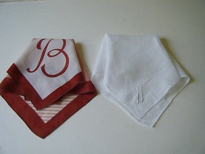lot 2 Old Antique Handkerchief Hanky initiuals B  ONE print ONE embroidered