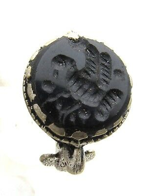 Post Medieval Silver Ring W/ Carved Intaglio W/ Bird  - Wearable  D931