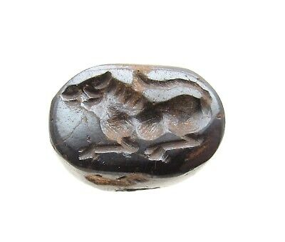 Post Medieval Carved Stone Bead W/ Lion - Rare Historic Artifact - D932