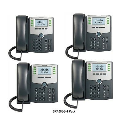 Cisco SPA508G 8-Line IP Phone with 2-Port Switch PoE and LCD Display (4-PACK)