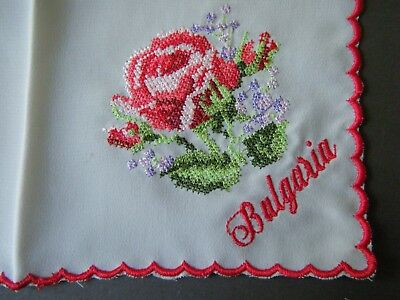 Old Vintage Handkerchief Hanky beautiful rosses embroidery Bulgaria hand done