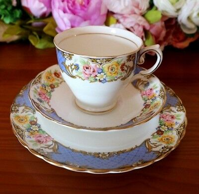 Tuscan China Blue Band with Gold Scrolls & Flowers Tea Set Trio