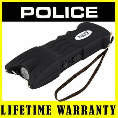 POLICE Stun Gun Black 916 58 Billion Rechargeable With Safety Pin LED Flashlight